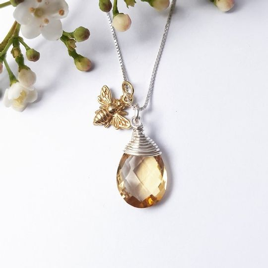 Citrine briolette with gold plated bee