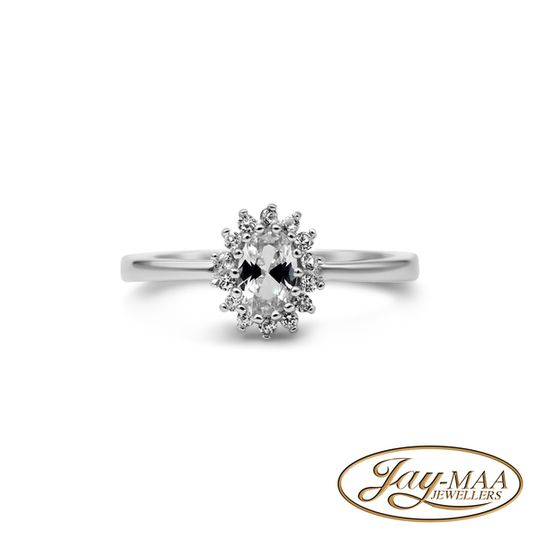 Sterling Silver Cubic Zirconia Ring - Lady Di Cluster