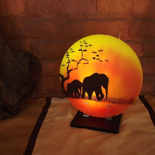 Sunset Candle - Mom and Baby Elephant