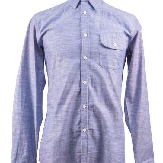 Men's Linen and Cotton Blend Shirt in Light Blue