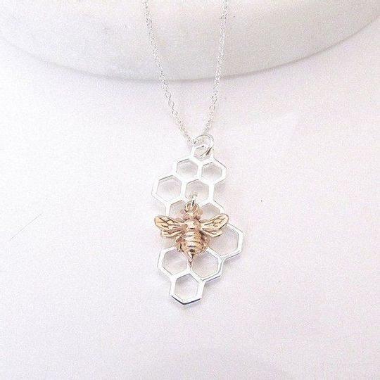 Bee and hive necklace