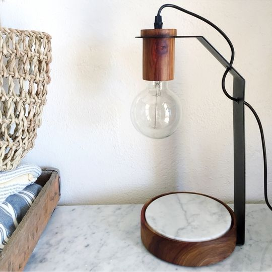 Marble base flat pack lamp