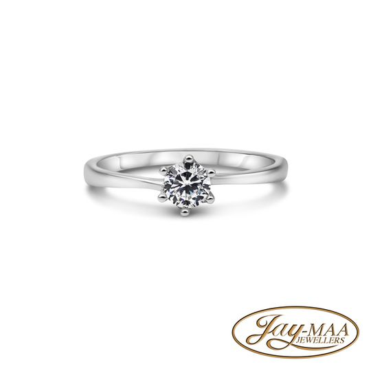 Sterling Silver Cubic Zirconia Ring - 6 Claw Solitaire - M