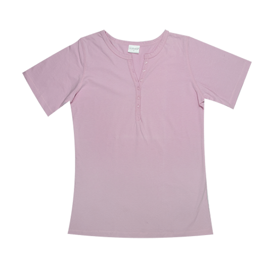 Ladies Short Sleeve - Buttons Pink