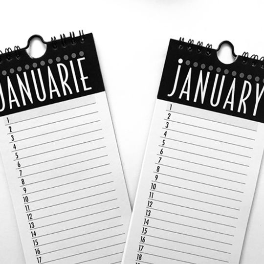 Long English Calendar/Month Planner