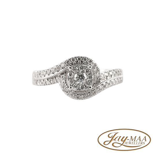 9ct White Gold Diamond Illusion Ring - Love Swirl