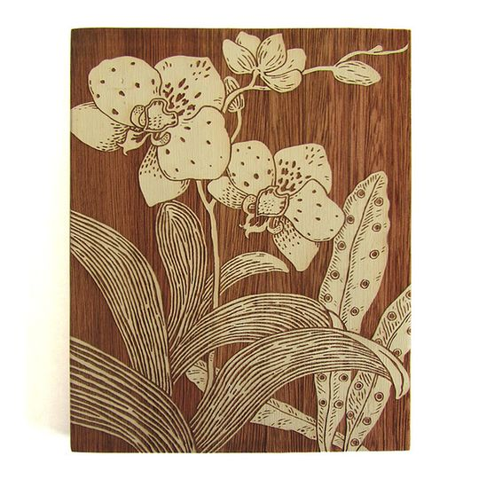 Woodblock Art - Orchid 1 - Bone White or Mustard