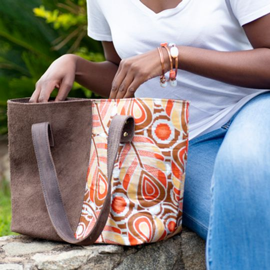 Limited Edition - Leather and African Print Tote