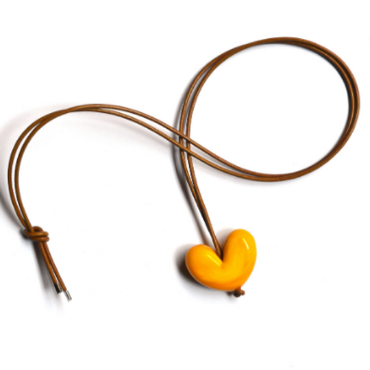 Long Leather & Glass Heart Necklace