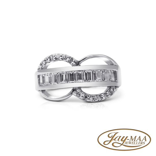 Sterling Silver Cubic Zirconia Ring - Infinity Band