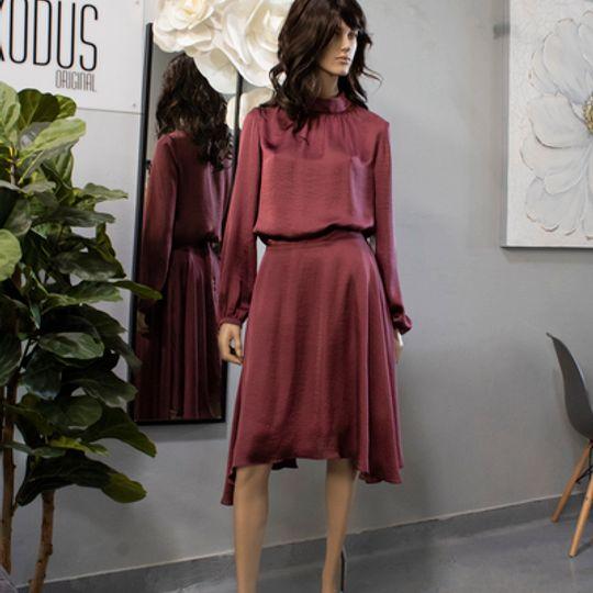 Maroon Silk Skirt