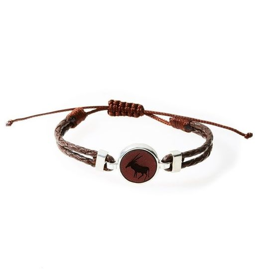 HUNK Braided leather Bracelet Oryx - Dark Brown