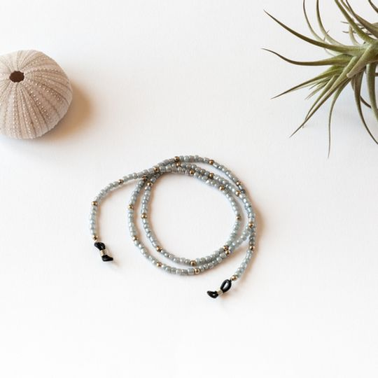 Beaded Glasses Straps - Light Grey & Gold