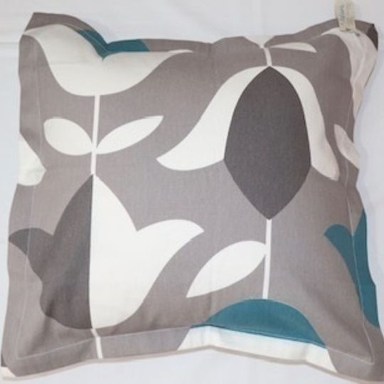 Tulip grey and teal cushion cover printed on 100% cotton