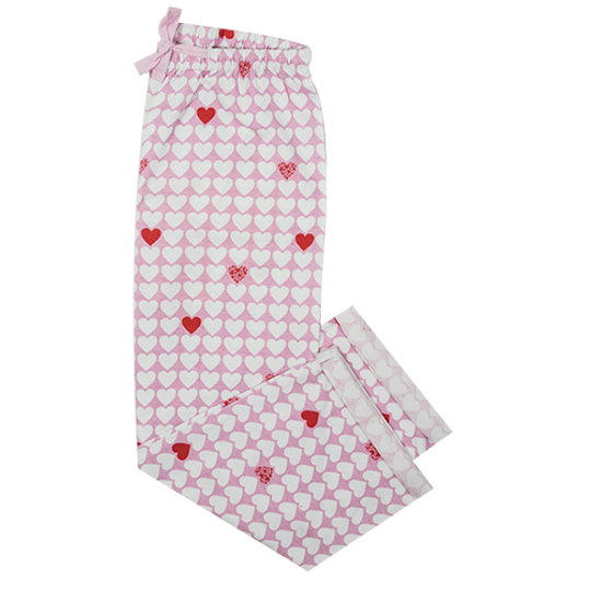Girls Long Pants Hearts (Cotton Knit)