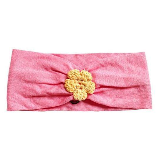 Headband / Girls - Coral with Orange Flower - M0383