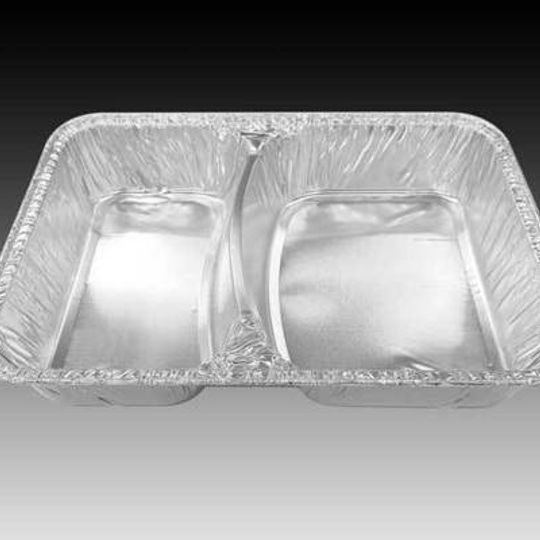 W2DIV-L- Two division, larger sized aluminium foil container with 520 ml + 370 ml capacity
