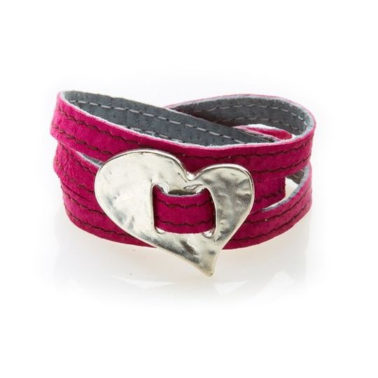 BOLD Reversible suede Bracelet & Choker Skew Heart - Pink/Charcoal Grey