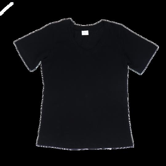 Ladies Short Sleeve - V-Neck Black
