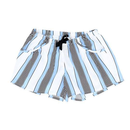 Girls Short Pants - Pockets Unisex Blue Stripe