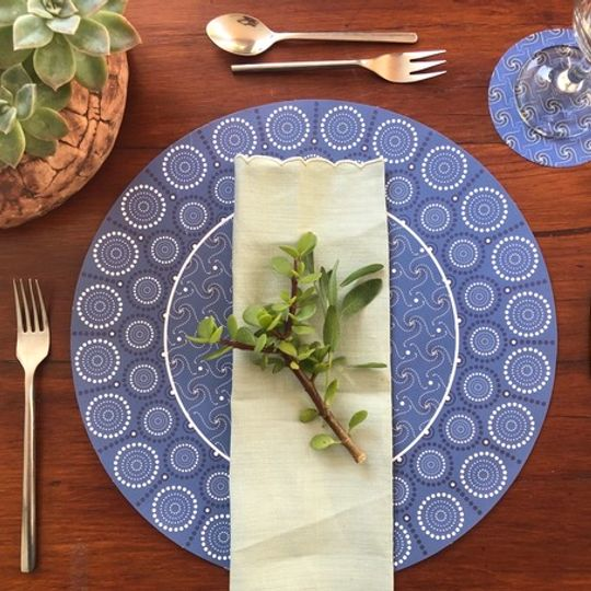 Indigo Combo: 24 Different Doilie placemats & 24 coasters