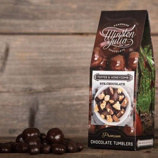 Toffee & Honeycomb tumbled in 56% Chocolate in 150g Box