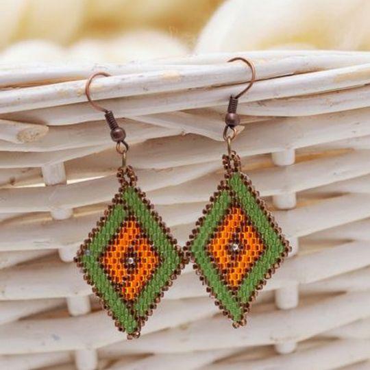 Handmade green, orange & brown diamond shaped earrings