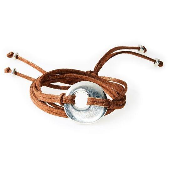 FIERCE Versatile faux suede Bracelet, Necklace & Choker Round Disk - Bronze S
