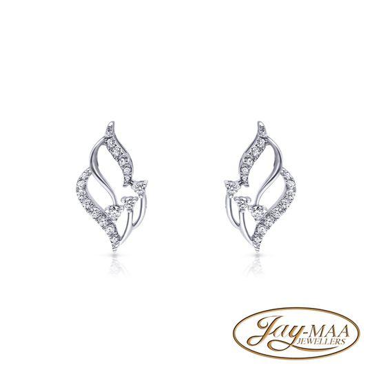18ct White Gold Diamond Stud Earrings - Flame