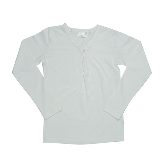 Kids Long Sleeve Top  - Buttons White
