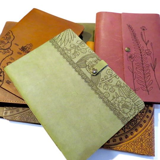 A5 Engraved Leather-bound Journals