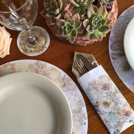 Desert Rose Combo: 24 Different Doilie placemats, 24 coasters and 12 cutlery bags