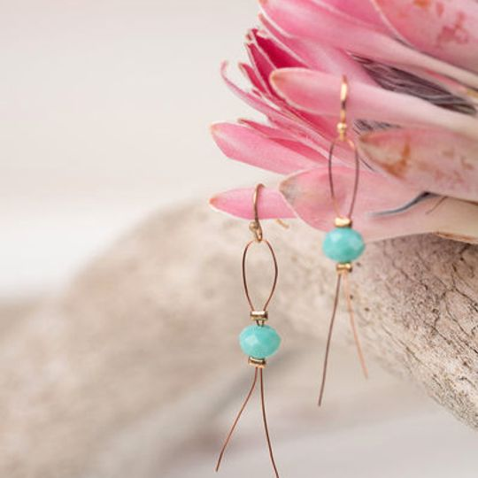 Long Wire Crystal Earrings