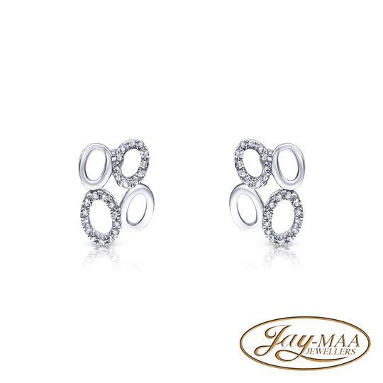 9ct White Gold Diamond Stud Earrings - Ovals
