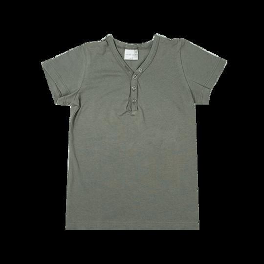 Kids Short Sleeve - Buttons Grey