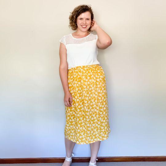 Midi Skirt - Yellow Floral