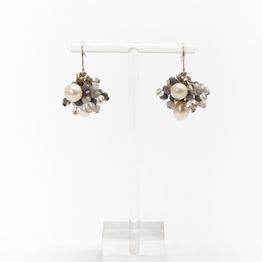 Cluster Earrings - Light Grey & Pearl
