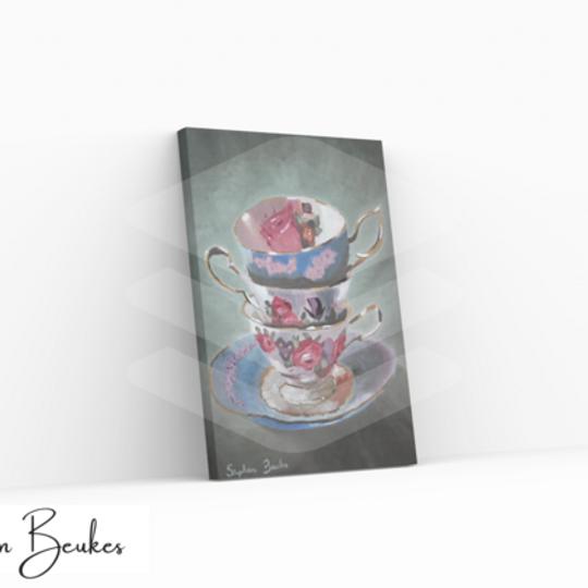 Three Teacups | Original Prints on Canvas