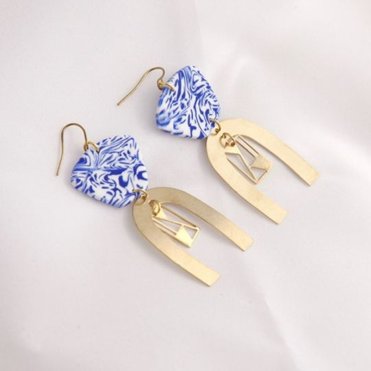The Blue Curved Earrings