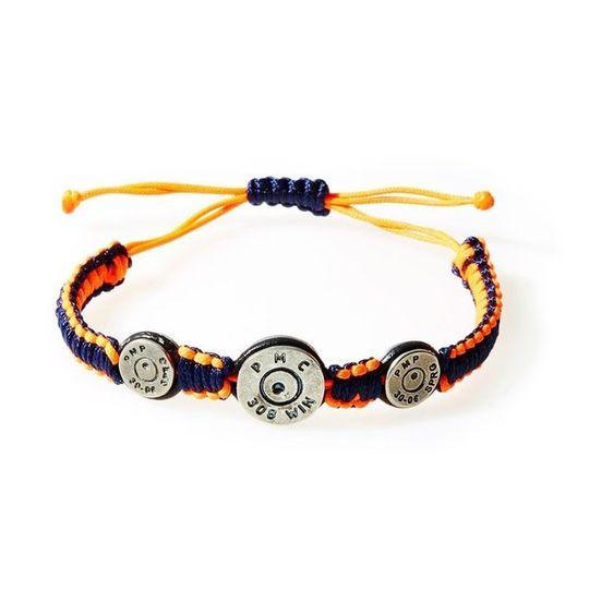 MAVERICK Macrame & leather Bracelet with Bullets Neon Orange/Navy Blue thread