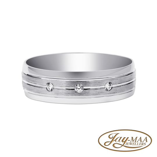 Sterling Silver Cubic Zirconia Band - Three Stones