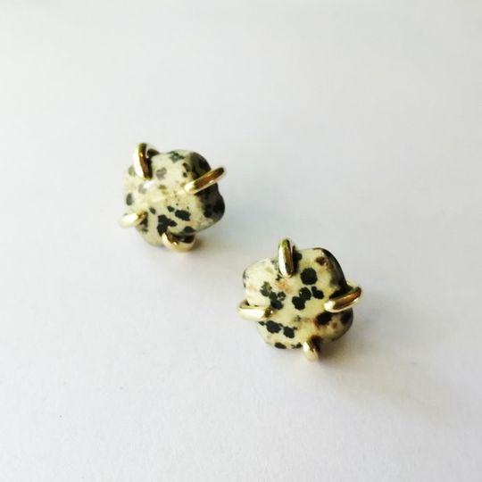 STONE Stud Earrings with Dalmation Jasper