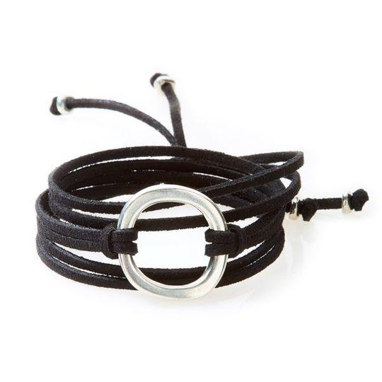 FIERCE Versatile faux suede Bracelet, Necklace & Choker 1 Circle - Black