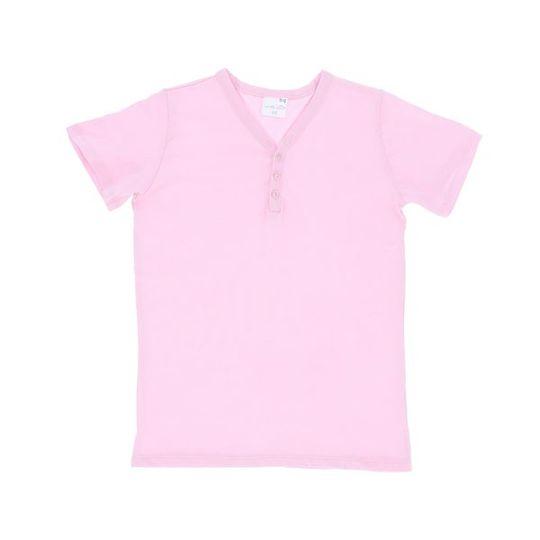 Kids Short Sleeve - Buttons Pink