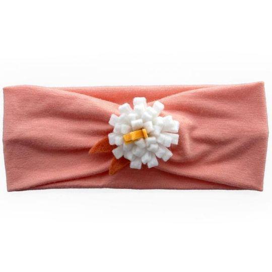 Headband / Girls - Apricot with White Flower - M0119