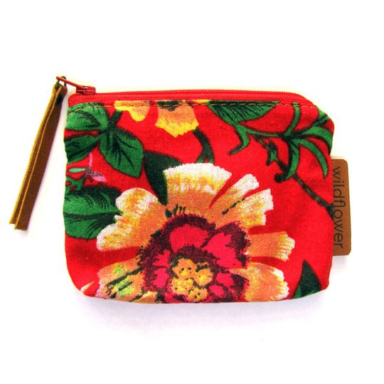 Zip Purse - Red Floral