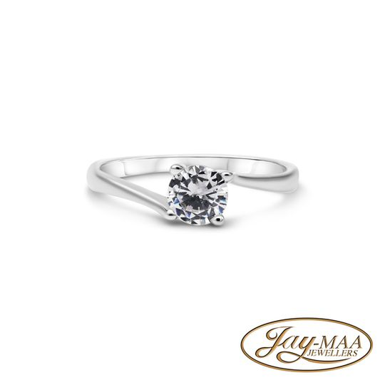 Sterling Silver Cubic Zirconia Ring - 4 Claw Solitaire