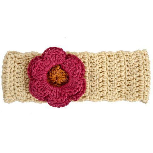 Winter Headband / Girls - Rich Cream with Coral Flower - M0271