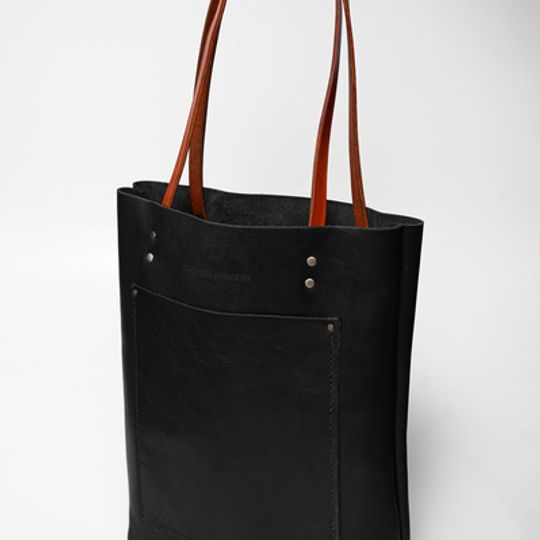 Leather Long shopper - Black and Tan
