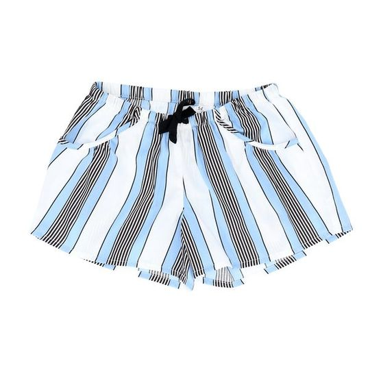 Girls Short Pants - Pockets Unisex Blue Stripe
